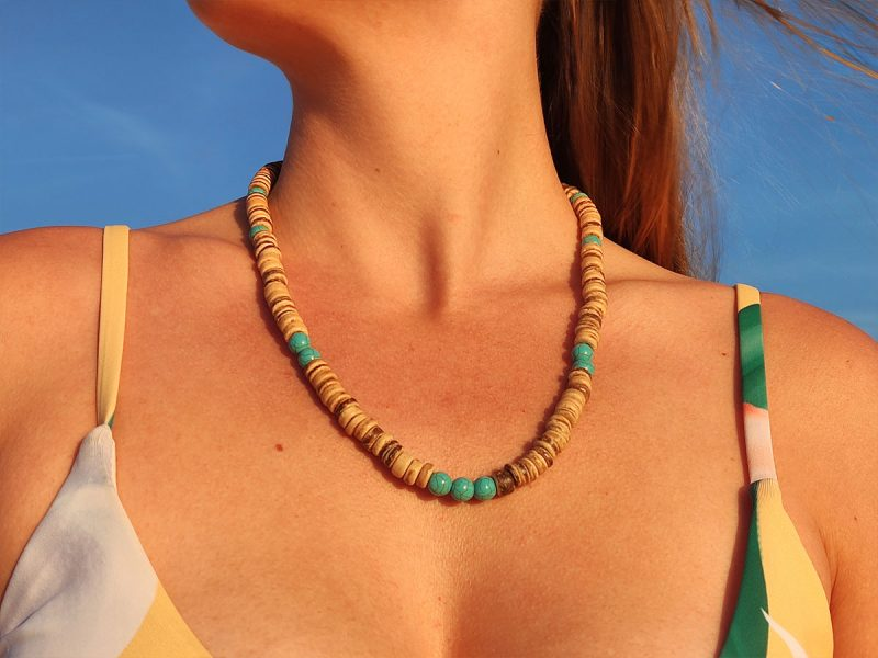 Collier heishi perle turquoise femme