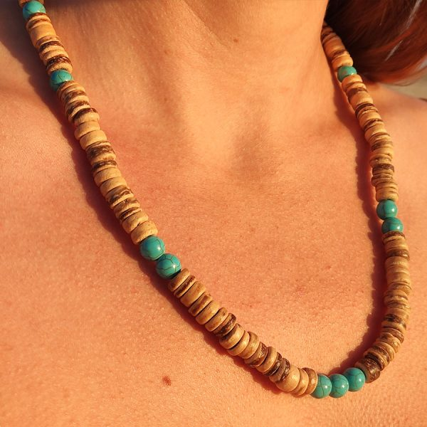Collier heishi femme turquoise